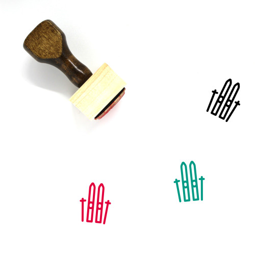 Ski Wooden Rubber Stamp No. 8
