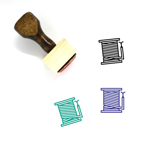 Reel Cable Wooden Rubber Stamp No. 1