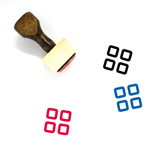 Grid Wooden Rubber Stamp No. 78