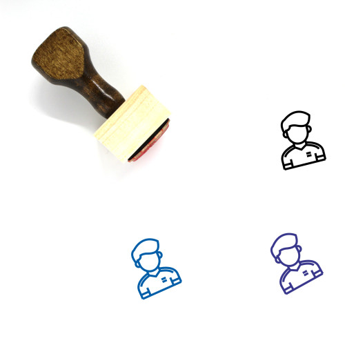 Football Player Wooden Rubber Stamp No. 41