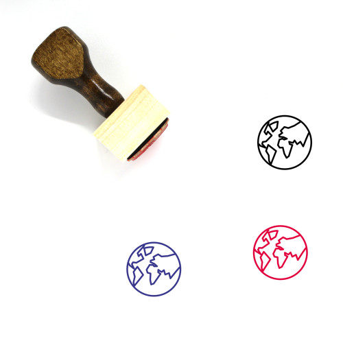 Earth Globe Wooden Rubber Stamp No. 43