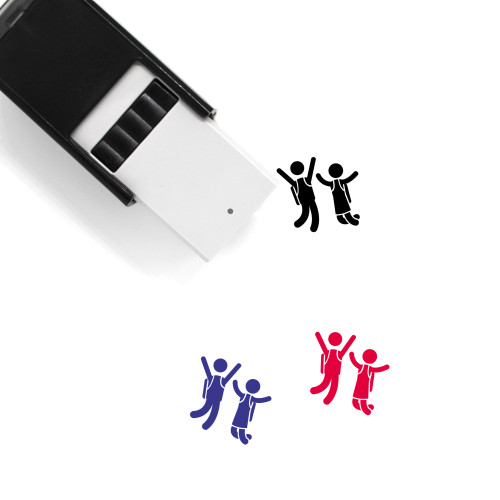 Jumping Students Self-Inking Rubber Stamp No. 1