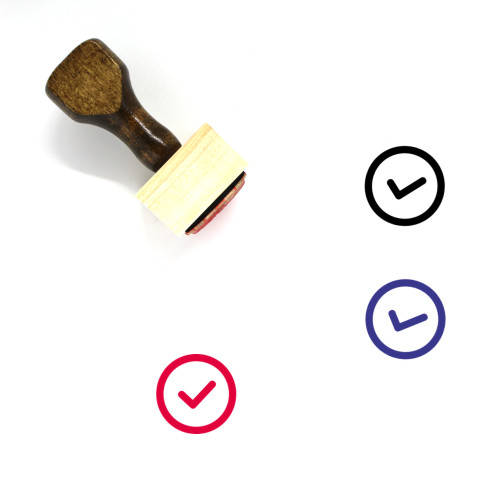Check Button Wooden Rubber Stamp No. 1