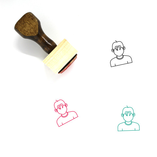 Young Man Wooden Rubber Stamp No. 43