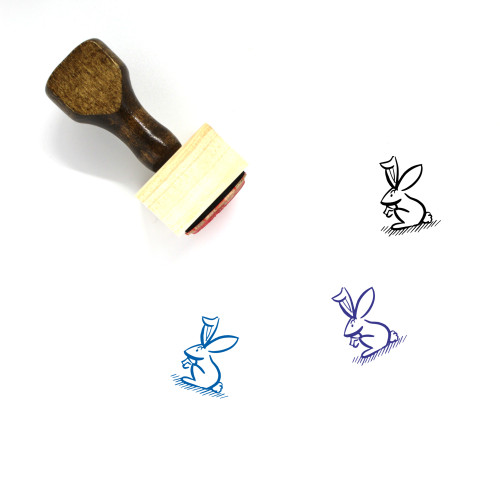 Rabbit Wooden Rubber Stamp No. 35