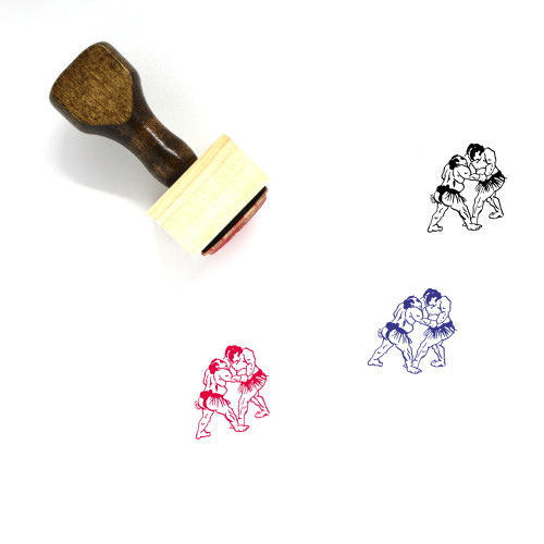Sumo Fighters Wooden Rubber Stamp No. 9