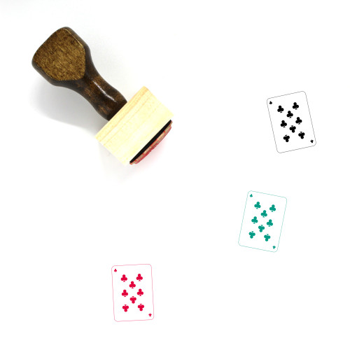 Eight Of Clubs Wooden Rubber Stamp No. 2