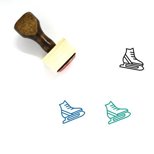 Ice Skates Wooden Rubber Stamp No. 36