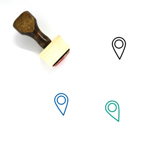 Map Marker Wooden Rubber Stamp No. 308