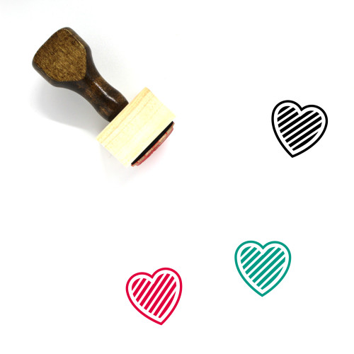 Strip Heart Wooden Rubber Stamp No. 3