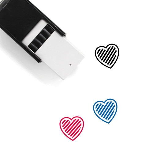 Strip Heart Self-Inking Rubber Stamp No. 3