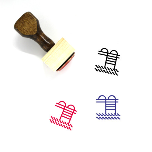 Pool Wooden Rubber Stamp No. 25