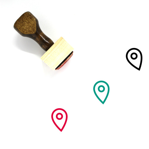 Map Marker Wooden Rubber Stamp No. 309