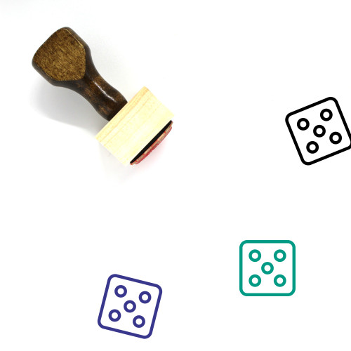 Five Dice Wooden Rubber Stamp No. 2