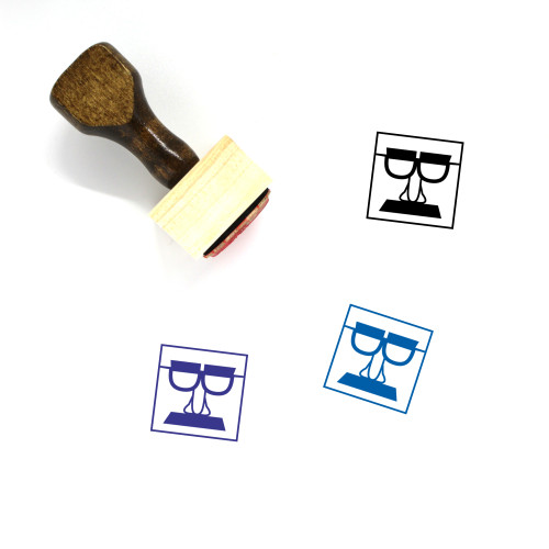 Groucho Glasses Wooden Rubber Stamp No. 3