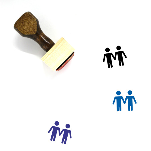 Gay Couple Wooden Rubber Stamp No. 17