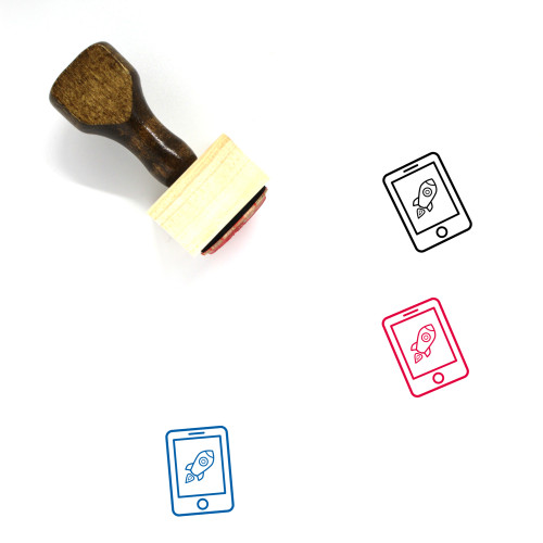 Launch Wooden Rubber Stamp No. 6