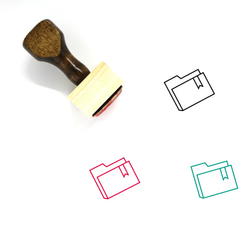 Bookmarked Folder Wooden Rubber Stamp No. 6