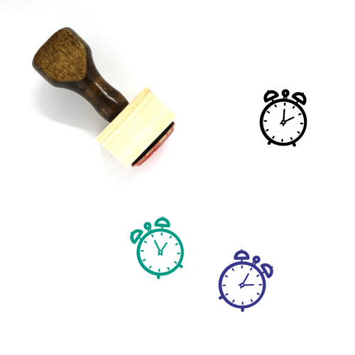 Alarm Clock Wooden Rubber Stamp No. 149