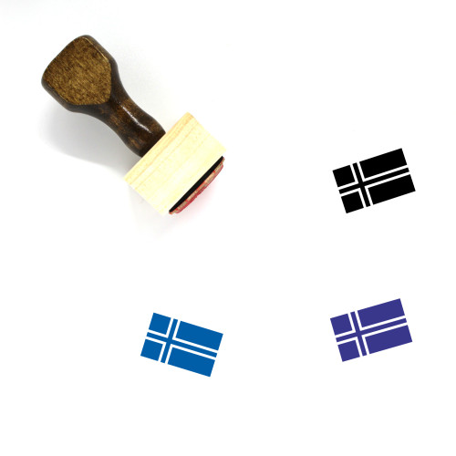 Norway Flag Wooden Rubber Stamp No. 13