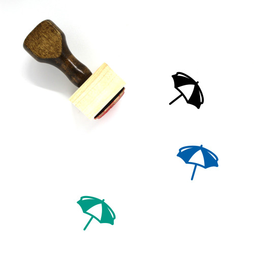 Beach Umbrella Wooden Rubber Stamp No. 26