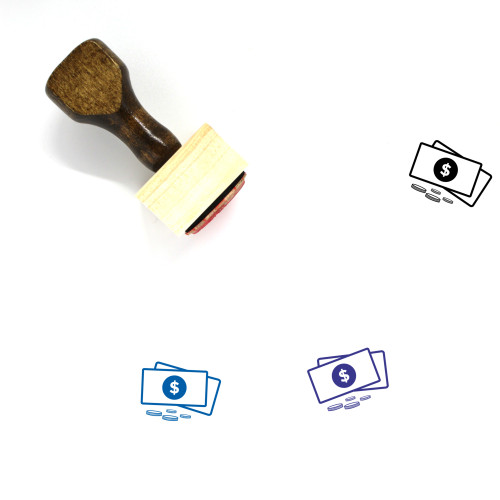 Money Wooden Rubber Stamp No. 339