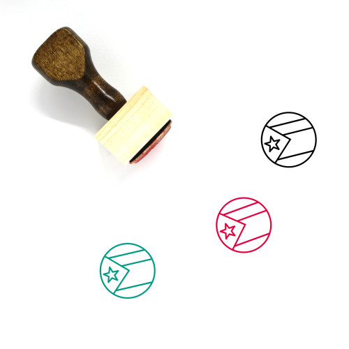 Flag Of Cuba Wooden Rubber Stamp No. 8