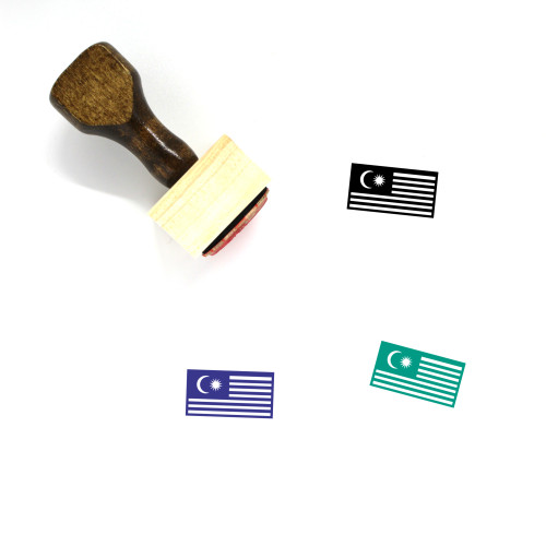 Malaysian Flag Wooden Rubber Stamp No. 3