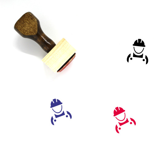 Construction Worker Wooden Rubber Stamp No. 53
