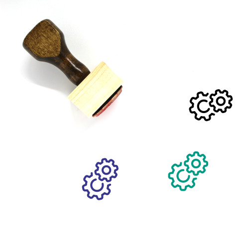 Gears Wooden Rubber Stamp No. 91