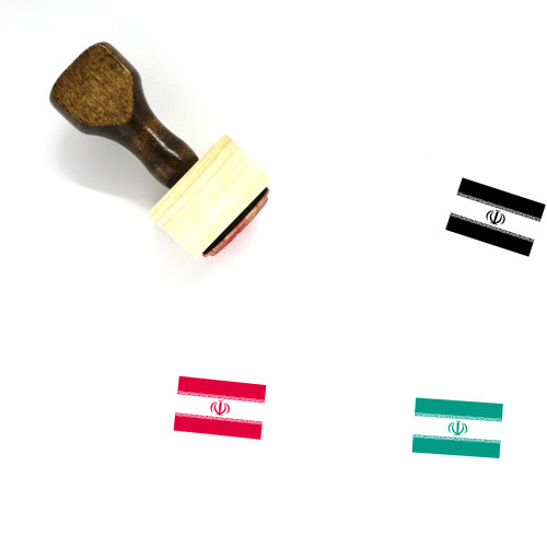 Iran Flag Wooden Rubber Stamp No. 4
