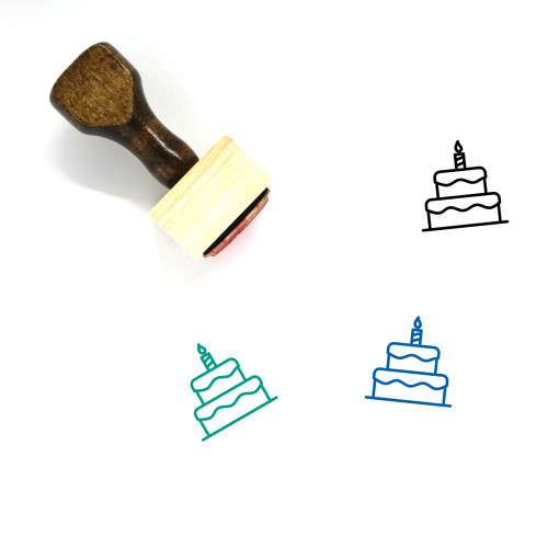 Birthday Cake Wooden Rubber Stamp No. 80