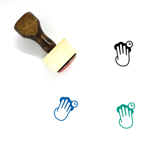 Four Finger Press And Hold Wooden Rubber Stamp No. 1