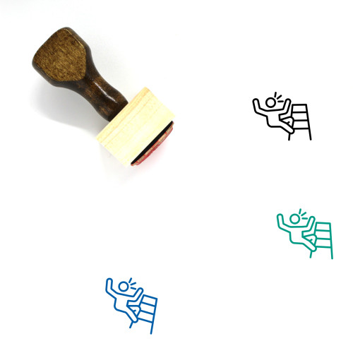 Falling Down Stairs Wooden Rubber Stamp No. 1