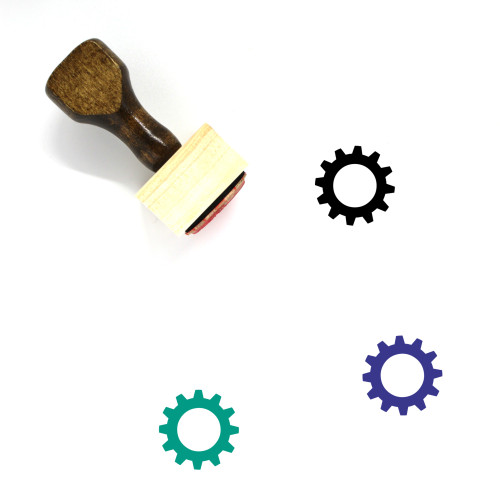 Settings Wheel Wooden Rubber Stamp No. 2
