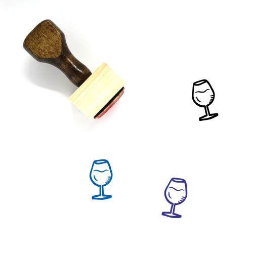 Glass Of Wine Wooden Rubber Stamp No. 20