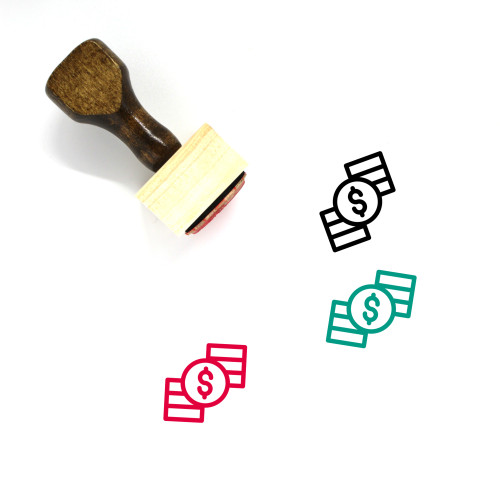 Coin Stack Wooden Rubber Stamp No. 12