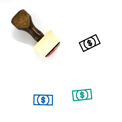Money Wooden Rubber Stamp No. 340