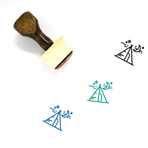 Night Camp Wooden Rubber Stamp No. 1