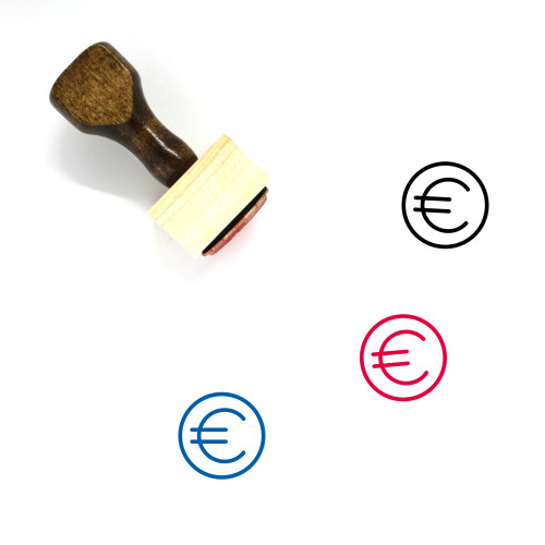 Euro Symbol Wooden Rubber Stamp No. 1
