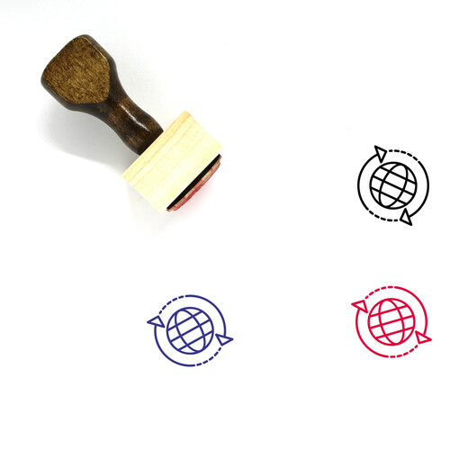 Globe Arrows Wooden Rubber Stamp No. 3