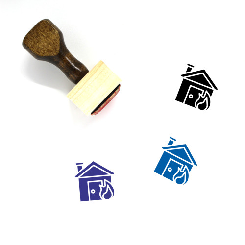 House Fire Wooden Rubber Stamp No. 25