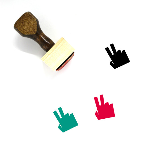 Two Fingers Wooden Rubber Stamp No. 8