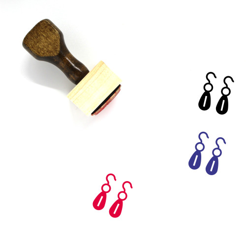 Earrings Wooden Rubber Stamp No. 21