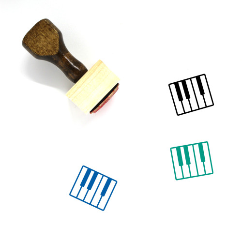 Piano Keys Wooden Rubber Stamp No. 14