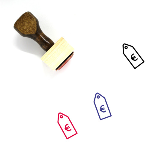 Price Tag Euro Wooden Rubber Stamp No. 4