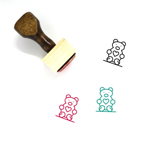 Teddy Wooden Rubber Stamp No. 17