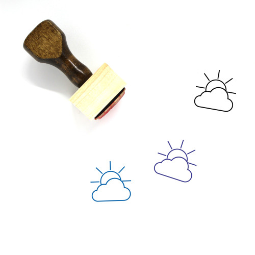 Partially Cloudy Wooden Rubber Stamp No. 77