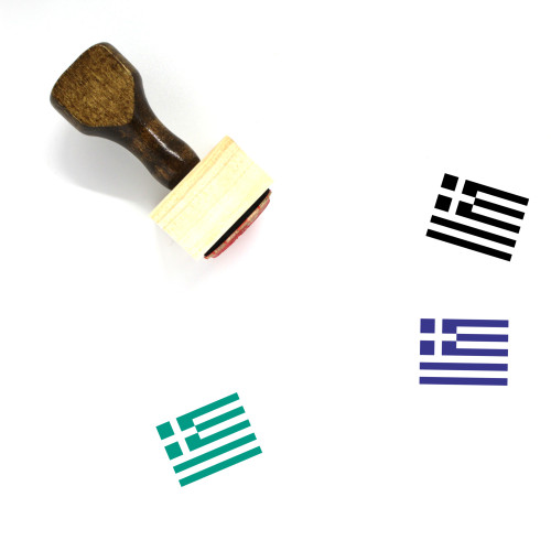 Greek Flag Wooden Rubber Stamp No. 4