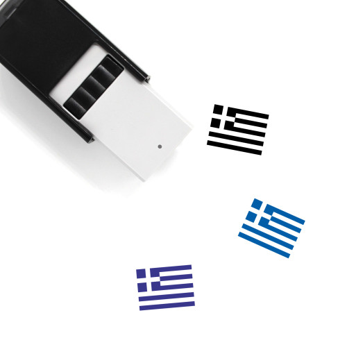 Greek Flag Self-Inking Rubber Stamp No. 4